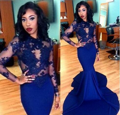 Royal Blue Long Lace Evening Dresses Sheer Applique Long Sleeve Floor Length Stretch Satin Mermaid Prom Dresses Arabic BA1820