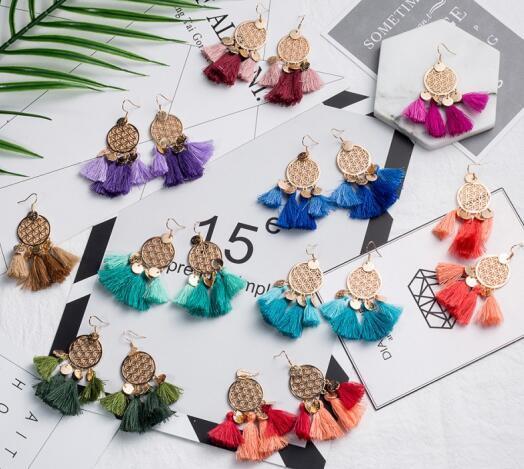 10Style Women Earring Pendientes Jewelry Tassel Bohemian Drop Earrings Colorful Summer Beach Female Personalized Long Tassel Earrings B710S