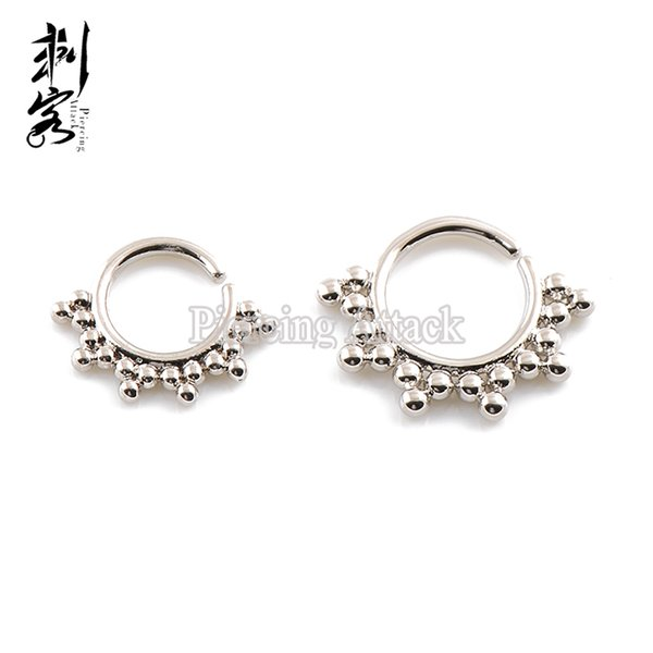 New Arrival Brass Indian Tribal Septum Clicker Indian Septum Piercing Nose Rings Lot of 10pcs Free Shipping