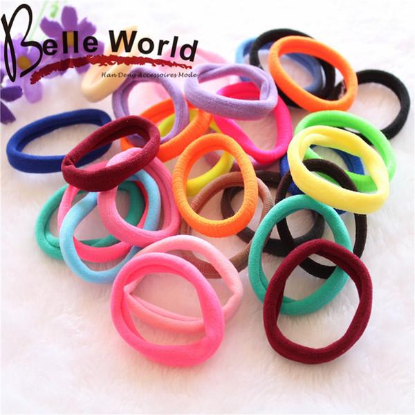 Wholesale 500 Pcs Colorful Children Kids Hair Holders Cute Rubber Hair Band Elastics Accessories Girl Women Charms Tie Gum