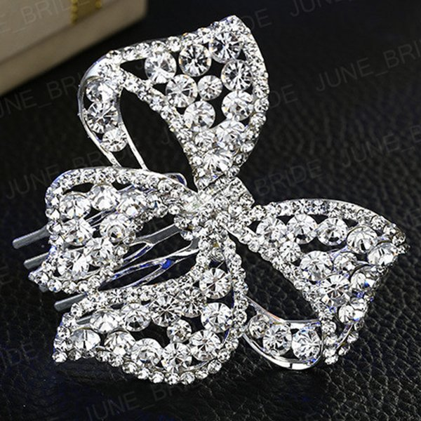 Luxury Crystal Bowknot Bridal Hair Comb Shinny Rhinestone Butterfly Floral Wedding Prom Party Hair Jewelry Accessory Free Shipping Headpiece