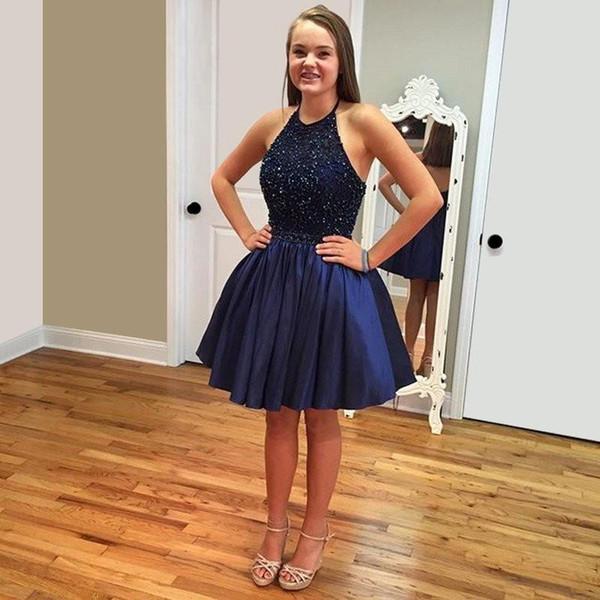 Barato nuevos vestidos de fiesta cortos azul marino 2016 Halter con cuentas lindo 8vo grado graduación verano Prom Homecoming Vestidos de cóctel