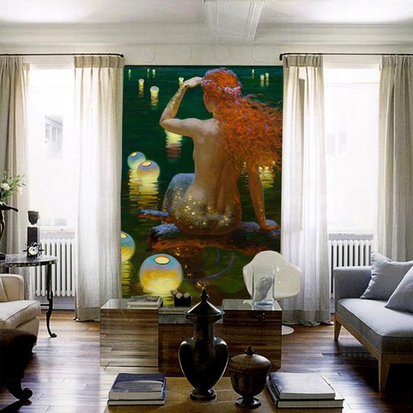 Acheter Mur De Sirène Murale Personnalisé 3d Papier Peint Pour Les Murs Océan Peinture à L Huile Papier Peint Enfant Chambre Hall D Entrée Hôtel Art