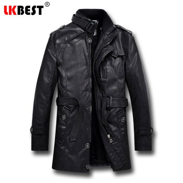 Wholesale- LKBEST 2017 Men Long Leather Jacket Winter Black Thick winter jacket men Casual Motorcycle Jacket Brand mens overcoat (PY06)