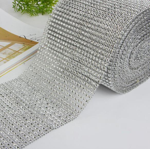 Wedding Decor Gold Silver Diamond Mesh 10 yards Party Decorations Trim Wrap Roll Sparkle Rhinestone Crystal Bling Cake Ribbon