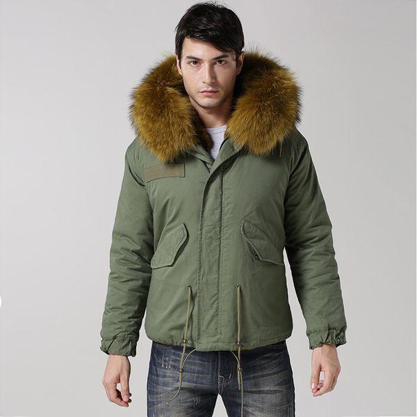 Free Shipping 2016 Mens Short Style Yellow Green Jacket Fsahion Winter Warm Faux fur jacket Real Raccoon Collar