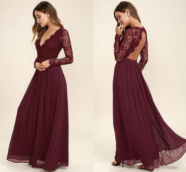 2017 Ucuz Bordo Şifon Batı Ülke Stil Gelinlik Modelleri Uzun Kollu V Yaka Backless Uzun Plaj Dantel Üst Düğün Elbiseleri