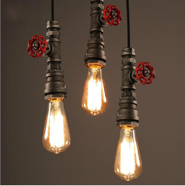 new vintage water pipe pendant lights industrial edison bulb pendant lamps loft retro diy bar ceiling - Edison Bulb Pendant