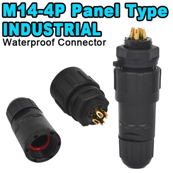 5pcs IP68 4Pin Waterproof Connector Plug 4 Pin Industrial Panel Mount Electrical Wire Connector High Quality Nylon Shell