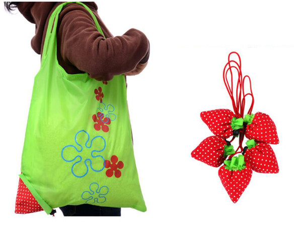 best selling large drawstring bags wholesale Nylon Strawberry Foldable bag gift shopping Reusable Pouch Eco-Friendly Shopping Bags