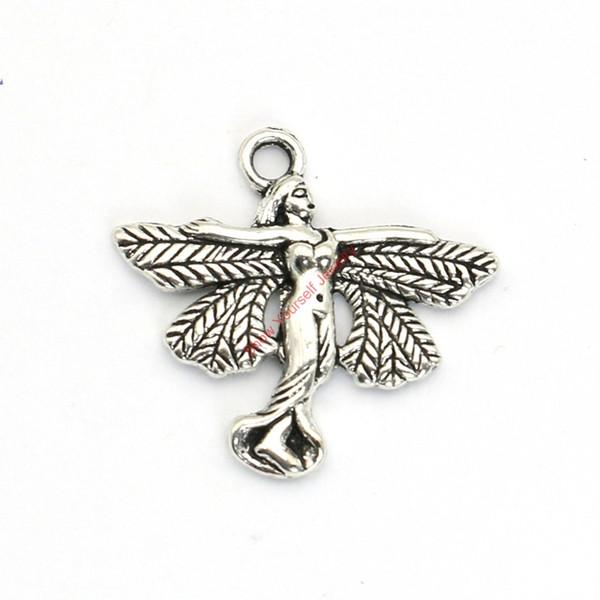 20pcs argento antico placcato angelo fata pendenti di fascini per il braccialetto creazione di gioielli fai da te collana artigianale 23x24mm