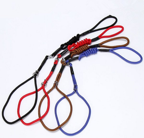High Quality Nylon Materia Dog Training Collar&Leash Nylon Solid Pet Lead Rope Pet Supplier Red Black Blue&Brown Color 4 Size 10PCS/LOT