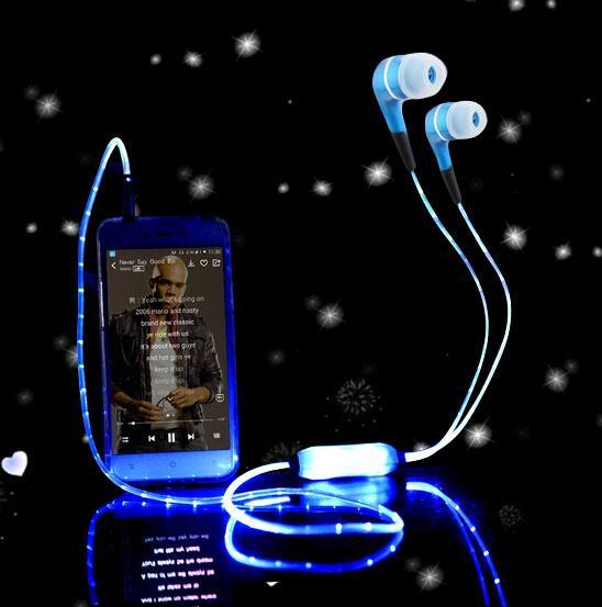 Esporte brilhante brilhante led fone de ouvido fone de ouvido estéreo legal brilho flash light earbud com microfone para iphone samsung xiaomi etc