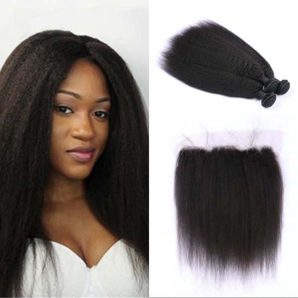 Mongolian Virgin Hair Kinky Straight 3 Bundles With Closure Unprocessed Human Hair Weave Extensions With Lace Frontal FDSHINE