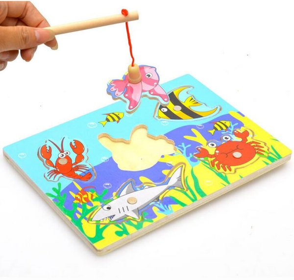 top popular Wholesale-New Wooden Magnetic Fishing Game & Jigsaw Puzzle Board Children Toy 2019