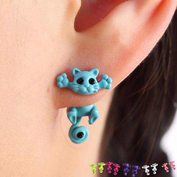 best selling Fashion Kitten Animal Multiple Color Classic Cute Cat Puncture Ear Stud Piercing Earrings Crystal Alloy For Women Girls