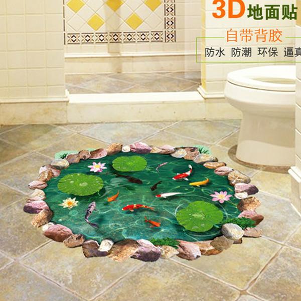 Lotus Teich Fisch Pool 3D Wandaufkleber für Kinder Kinder Baby Room Home Dekorationen Personalisierte Boden Wandaufkleber Abziehbilder