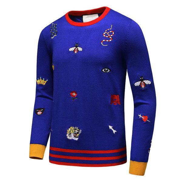 top popular Latest Snake Tiger Bee Flower Crown Men Sweaters Winter Autumn long sleeve pullover masculino male casual sweater knitwear M-3XL 2019