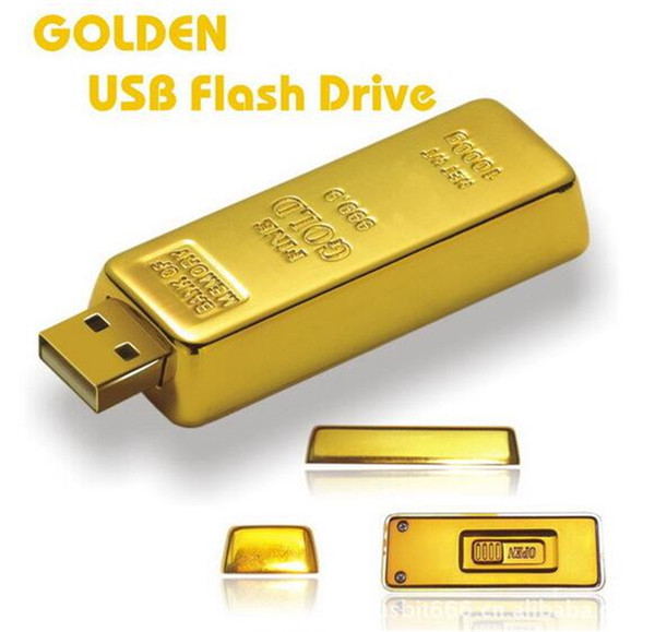 25pcs DHL 100% Real Capacity Gold bar 1GB 2GB 4GB 8GB 16GB 32GB 64GB 128GB 256GB USB Flash Drive Memory Stick with OPP Packaging 01