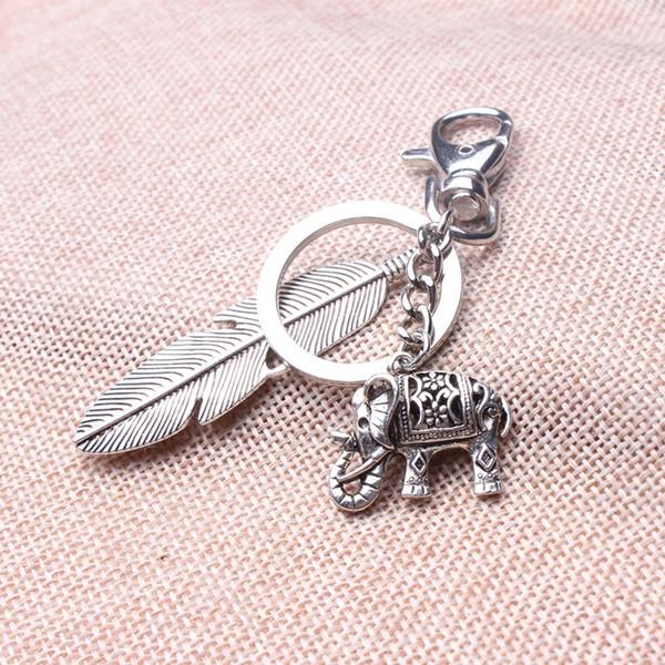 Yeni tasarım benzersiz fil anahtarlıklar, kız antik gümüş 3d mini fil tüy tribal etnik anahtarlık yılbaşı hediyeleri için sahipleri