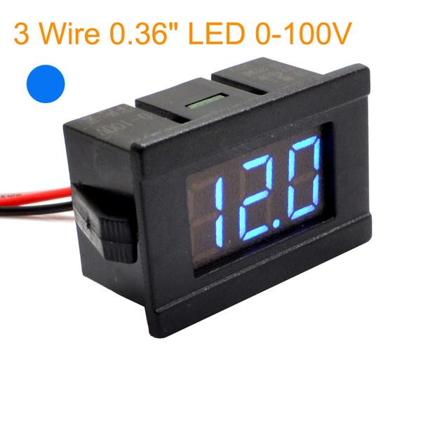 "Wholesale-1pc New 2 wire 0.36"" Blue LED Digital DC Voltmeter Voltage Meter Monitor Tester For DC 4.5V-120V Car Free Shipping 10000751"