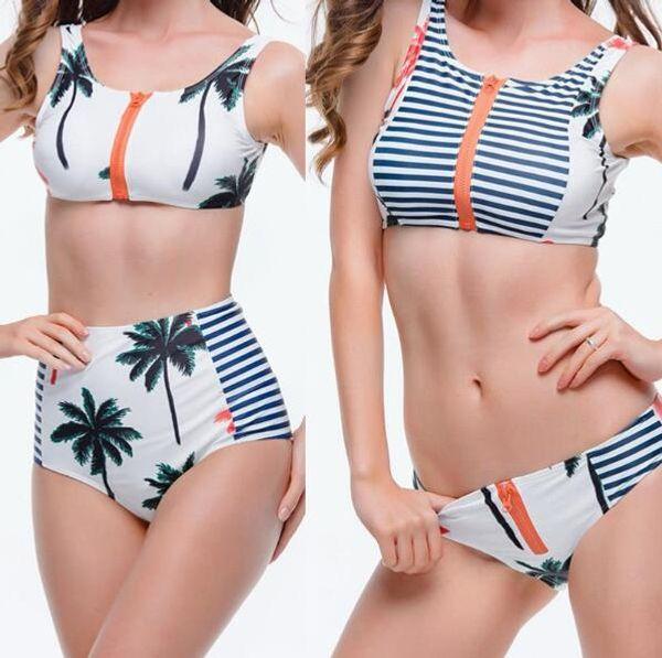 0b1b22087e6c4 2019 2016 New Sexy Palm Tree Bikini Women Swimsuit High Waisted Bathing  Suits Swim Halter Top Push Up Bikini Set Beach Plus Size Swimwear From ...