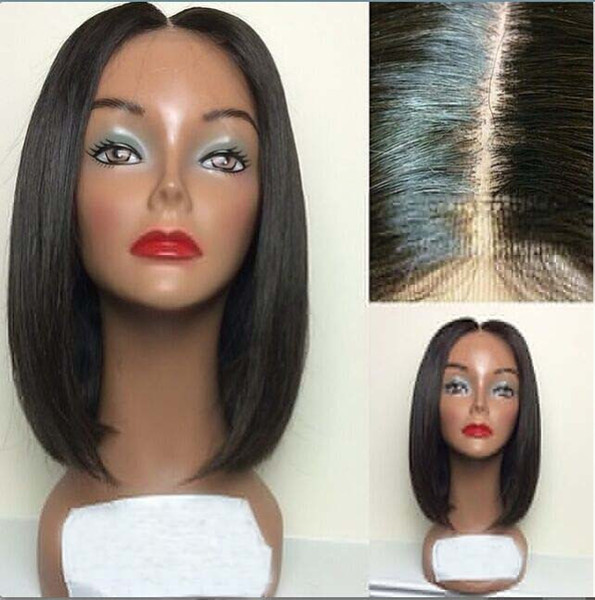 Short Brazilian Hair Wigs For Black Women Natural Color Silk Straight Human Hair Wigs Bob Style Glueless Full Lace Wig With Baby Hair