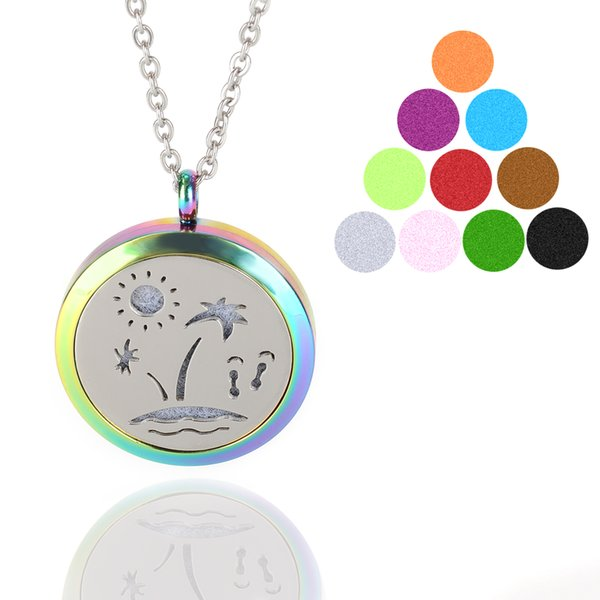 Aromatherapy Essential Oil Diffuser Necklace Multicolor Seaside Scenery Locket Pendant with 10PC Refill Pads 316L Stainless Steel