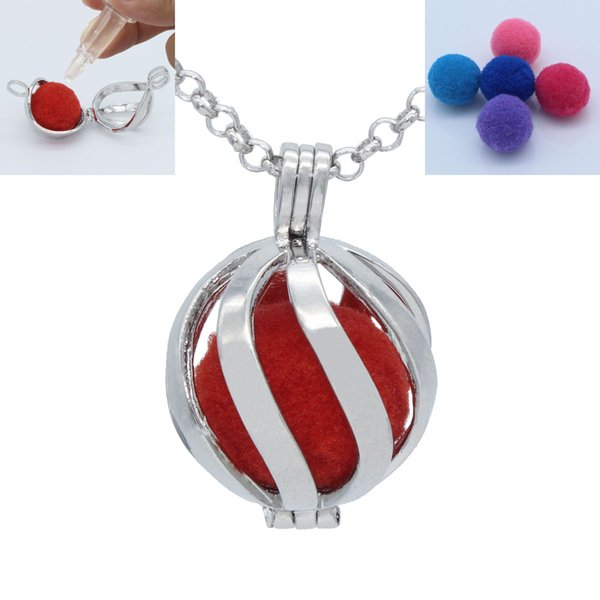 Silver Tone Wave Hollow Floating Locket For Perfume Fragrance Essential Oil Aromatherapy Diffuser Pendant Chain Necklace Jewelry Charms