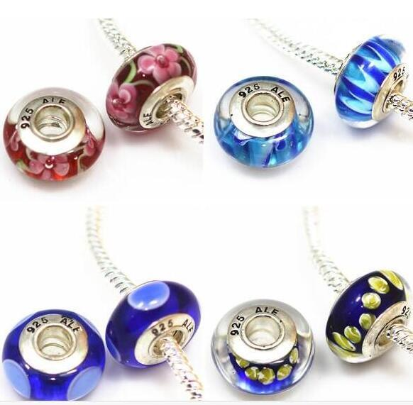 best selling 50 pcs DIY jewelry accessories Silver plated 925 ALE thread core murano glass beads big hole Charms Bead For Bracelets ZHZP001