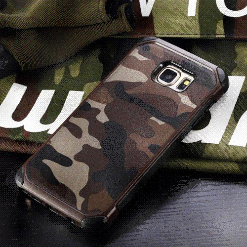2016 New Army Camo Camouflage Pattern TPU + PC 2 in1 Armor Hard Leather Back Cover Protective Phone Case For Samsung s6