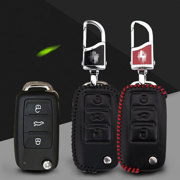 car-styling Premium Leather Remote Key Holder Fob Case Cover fit For VOLKSWAGEN Lavida/Jetta/Polo/Bora
