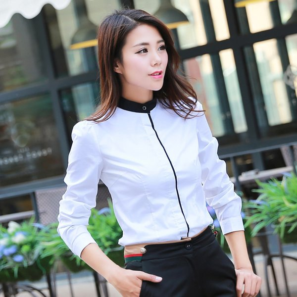 Free shipping New Fashion Stand Collar Simple Style Bodysuit Blouse Long Sleeve OL Slim White Black Shirts Tops Jumpsuit SMLXL