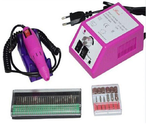 Professionelle rosa elektrische Nagel-Bohrgerät-Maniküre-Maschine mit Bohrern 110v-240V (EU-Stecker) bedienungsfreundliches freies Verschiffen
