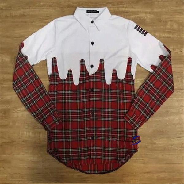 Toptan-Moda Genişletilmiş Hip Hop Düğme Gömlek Erkekler Kırmızı Pamuk Erkekler Uzun Kollu Gömlek Streetwear Casual Marka Ekose Gömlek Erkekler Q1364