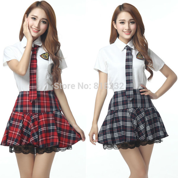 Al por mayor-Girl's Sexy High School Sailor Traje uniformes Tops + falda diaria / traje de cosplay S-XXL