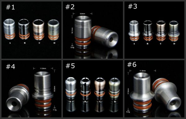 6 style Stainless Steel 510 Ego drip tips metal drip tip ss mouthpiece for atomizer tank e cig rda rba vape 10pcs