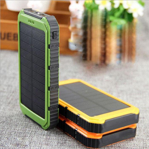 Factory Price! 20000mAh Novel solar Power Bank Ultra-thin Waterproof Solar Power Banks 2A Output Cell Phone Portable Charger Solar Powerbank