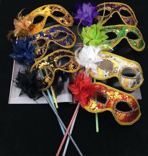 Mascarade vénitienne masque de déguisement sur bâton Mardi Gras Costume eyemask impression Halloween Main Held Stick Mask party fournitures 6colors