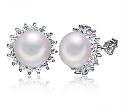 real natural freshwater 7-8mm pearl studs earrings white gold plated earrings with shinning rhinestone fashion gift retro pearl jewelry