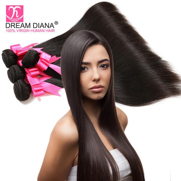 Grau 6a cabelo liso brasileiro 3 pacotes cabelo reto não transformados em linha reta cabelo costurar tecer