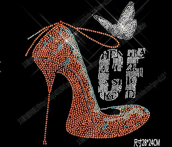 New Style DIY 28*24cm CF shoes bling crystal patterns clothing accessories Hot Fix Rhinestones motif Heat Transfer on Design Iron On clothes