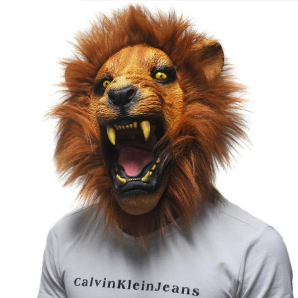 Latex Mask Realistic 2017 Halloween Horror Scary Mask Full Face Ferocious Angry Lion Head Animal Masquerade Party Silicon Mask