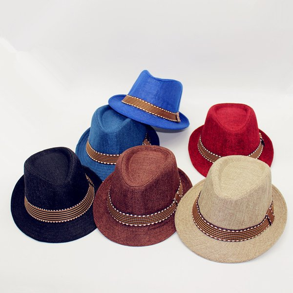 New Fashion Kids Boy Girl Unisex Fedora Hats Cap for Children Contrast Trim Cool Jazz Chapeu Feminino Trilby Sombreros