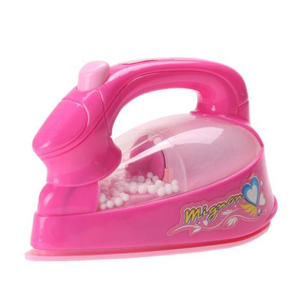 Mini ferro da stiro rispettoso dell'ambiente Plastica Light-up simulazione bambini bambini giocano casa giocattolo ragazze bambino finta di giocare rosa