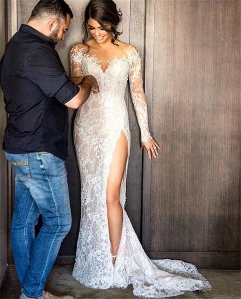 top popular Sexy Illusion Appliques Lace Mermaid Wedding Dresses Long Sleeve Scoop Detachable Train Bride Dress Custom Vestido De Noive 2019