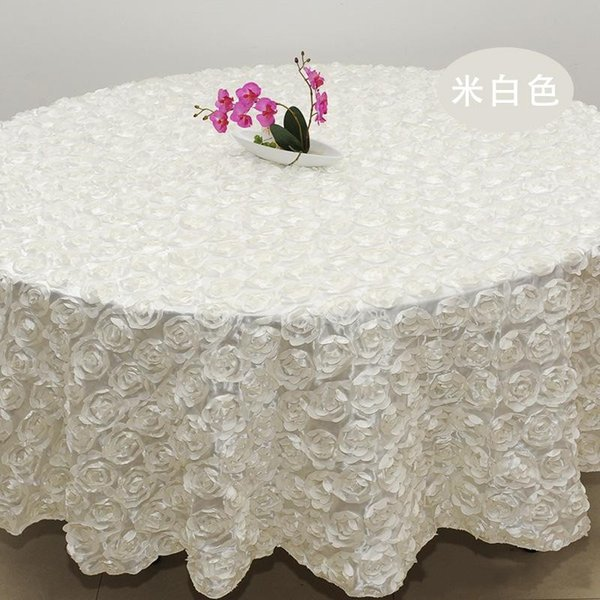 2.4m white color Wedding Table Cloth Round Overlays 3D Rose Petal Round Tablecloths Wedding Decoration Supplier 10 Colors Free Shipping