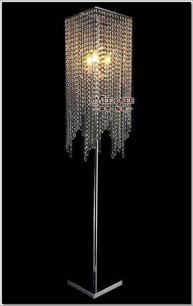 Free Shipping Modern Popular Crystal Floor Lamp, Chrome Floor Stand lighting Meerosee stand lighting FL10008