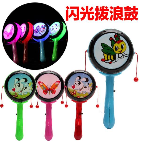 Light colorful flash cartoon led children baby rattle drum drum bag mail cartoon hand puzzle toys