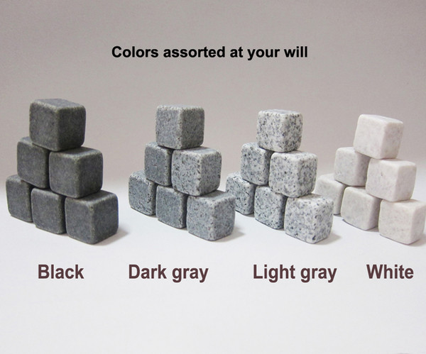 top popular Free by sea 100% Natural 6 COLORS Whisky stones 1350pcs lot 9pcs bag Whiskey Stone Wine Rocks Ice Stones Bar Christmas Valentine Father Gift 2021